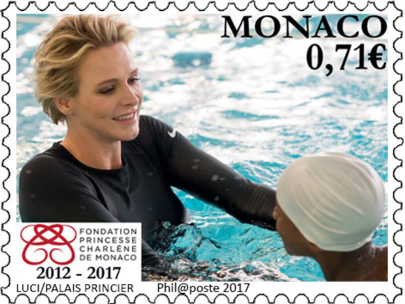 "The ""Office des Timbres"" of Monaco celebrates the 5th anniversary of the Princess Charlene of Monaco Foundation"