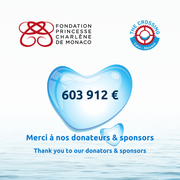 The Princess Charlene of Monaco Foundation wishes to thank all the donators and sponsors of The Crossing: Calvi - Monaco Water Bike Challenge